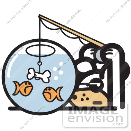 goldfish bowl clipart. Cartoon Clip Art of a
