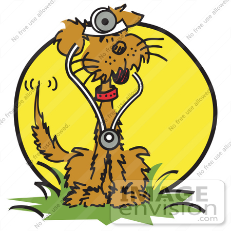 #29034 Royalty-free Cartoon Clip Art of a Brown Dog Sitting in Grass and Wearing a Stethoscope by Andy Nortnik