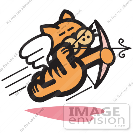 #29039 Royalty-free Cartoon Clip Art of an Orange Cat Flying Like Cupid And Shooting Arrows With A Bow On Valentine's Day by Andy Nortnik