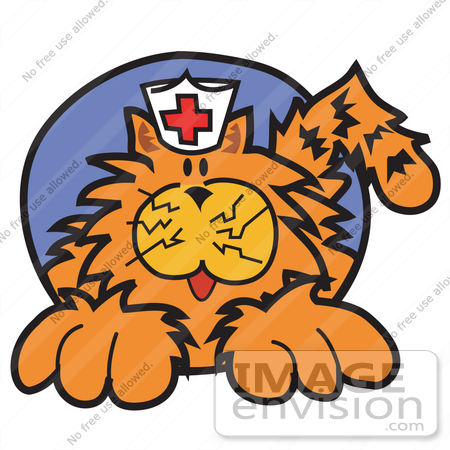 #29046 Royalty-free Cartoon Clip Art of an Orange Cat Wearing A White Nursing Hat With A Red Cross On It by Andy Nortnik