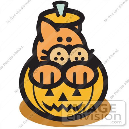 Merveilleux #29050 Royalty Free Cartoon Clip Art Of An Orange Cat Inside A Halloween  Pumpkin