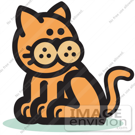 #29052 Royalty-free Cartoon Clip Art of a Ginger Cat Sitting and Looking Back by Andy Nortnik