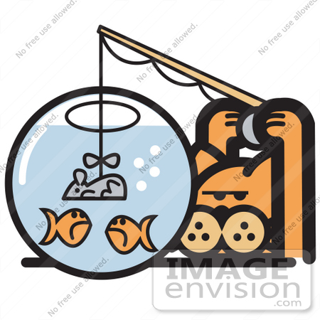 #29058 Royalty-free Cartoon Clip Art of an Orange Cat Trying To Fool Goldfish In A Bowl By Using A Mouse As A Fishing Lure by Andy Nortnik