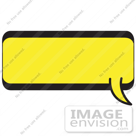 #29085 Royalty-free Cartoon Clip Art of a Rectangle Shaped Word Balloon With A Yellow Background And Bold Black Outline by Andy Nortnik