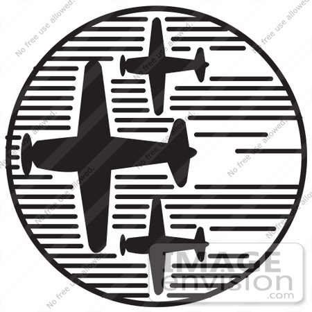 #29089 Royalty-free Black And White Cartoon Clip Art of Three Airplanes Speeding Through The Sky During An Air Show On Independence Day by Andy Nortnik