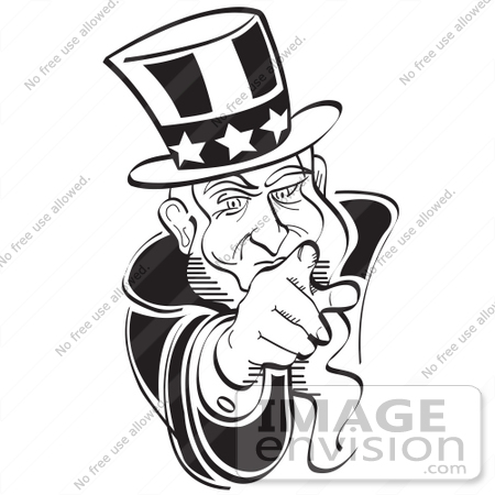 royalty free black and white cartoon clip art of uncle sam pointing rh imageenvision com Uncle Sam Funny I Want You Uncle Sam Clip Art