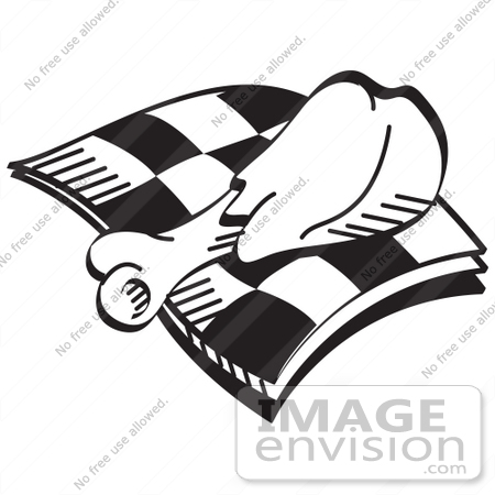 29093 Royalty Free Black And White Cartoon Clip Art Of A Tasty Chicken Drumstick