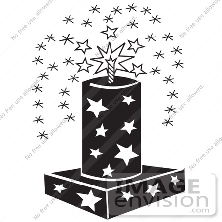 #29101 Royalty-free Black And White Cartoon Clip Art of a July 4th Fireworks Fountain With Stars by Andy Nortnik