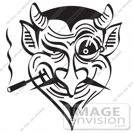 #29102 Royalty-free Black and White Cartoon Clip Art of an Evil and Greedy Devil Smoking and Grinning by Andy Nortnik