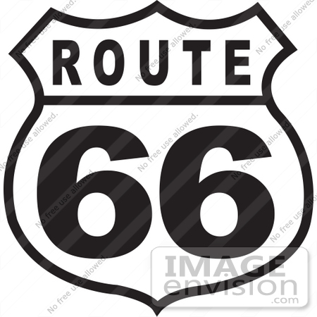 29107 royalty free black and white cartoon clip art of a route 66 sign