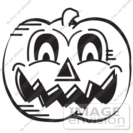 29110 royalty free black and white cartoon clip art of an evil carved halloween - Halloween Black And White