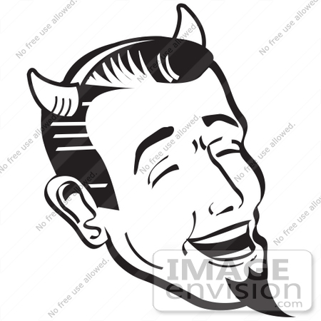 #29113 Royalty-free Black and White Cartoon Clip Art of a Man Wearing Horns And A Goatee, Laughing Devilishly On Halloween by Andy Nortnik