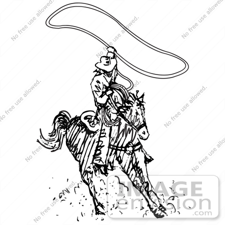 Royalty-free Black and White Cartoon Clip Art of a Roper Cowboy on ...