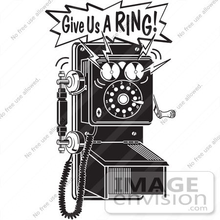 #29127 Royalty-free Black and White Cartoon Clip Art of a Ringing Wall Telephone by Andy Nortnik