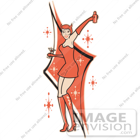 Party Dress on Royalty Free Cartoon Clip Art Of A Sexy Woman In A Tight Red Dress
