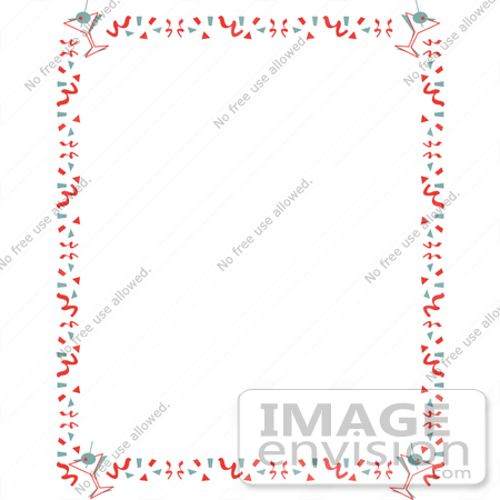 #29225 Royalty-free Cartoon Clip Art of a Stationery Background Of With A Border Of Confetti And Martinis by Andy Nortnik
