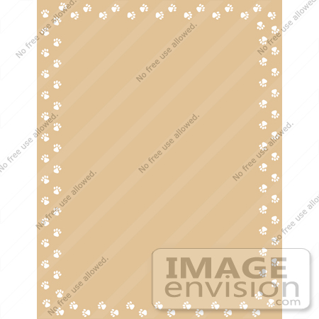 #29229 Royalty-free Cartoon Clip Art of a Tan Background With White Paw Prints Along the Borders by Andy Nortnik