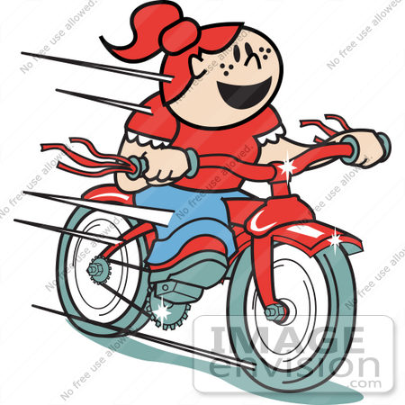 #29236 Royalty-free Cartoon Clip Art of a Happy Red Haired Girl Speeding Downhill On Her Brand New Red Bike Retro by Andy Nortnik