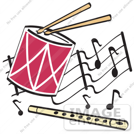 29243 Royalty Free Cartoon Clip Art Of A Drumsticks Playing Drum And
