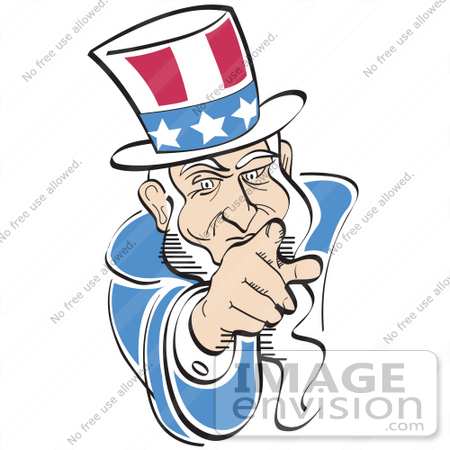 #29250 Royalty-free Cartoon Clip Art of  American Uncle Sam Pointing Out at the Viewer by Andy Nortnik