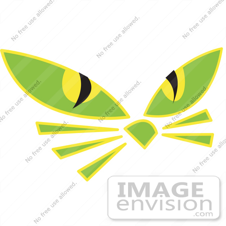 #29253 Royalty-free Cartoon Clip Art of a Pair of Green Cat Eyes and Whiskers Glowing in the Dark by Andy Nortnik