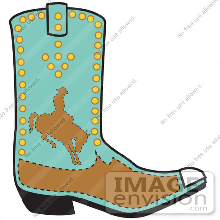 #29265 Royalty-free Cartoon Clip Art of a Turquoise And Brown Boot Of A Cowboy In Silhouette, Riding A Bucking Bronco by Andy Nortnik