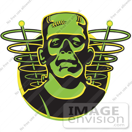#29274 Royalty-free Cartoon Clip Art of a Green Frankenstein Monster by Andy Nortnik