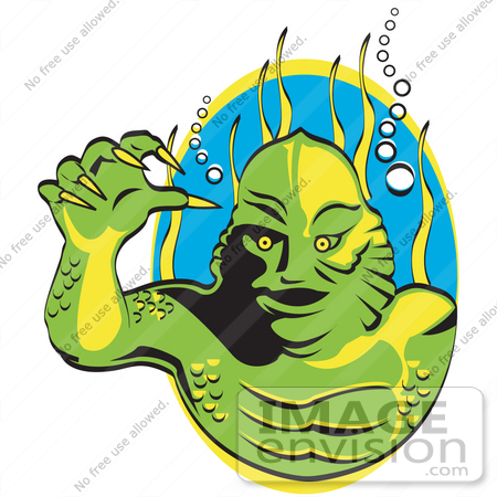 #29283 Royalty-free Cartoon Clip Art of a Green Swamp Monster With Yellow Talons And Scaly Skin, Breathing Underwater With Bubbles And Aquatic Plants by Andy Nortnik