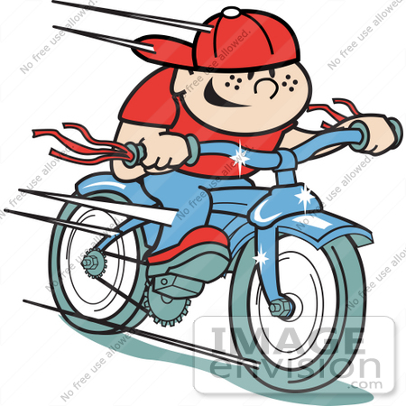 #29287 Royalty-free Cartoon Clip Art of a Happy Boy Riding a Brand New Blue Bike by Andy Nortnik