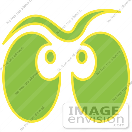 #29296 Royalty-free Cartoon Clip Art of a Pair of Green and Yellow Ghost Eyes Glowing by Andy Nortnik