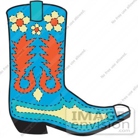cowboy boots cartoon. of a Blue Cowboy Boot With