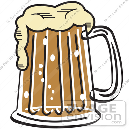 #29299 Royalty-free Cartoon Clip Art of a Frothy Mug of Beer in a Bar by Andy Nortnik