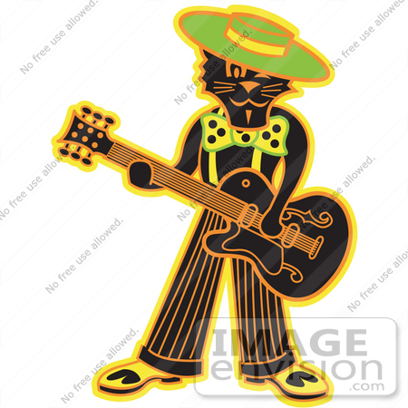 #29301 Royalty-free Cartoon Clip Art of a Cool Black Cat Playing a Guitar by Andy Nortnik