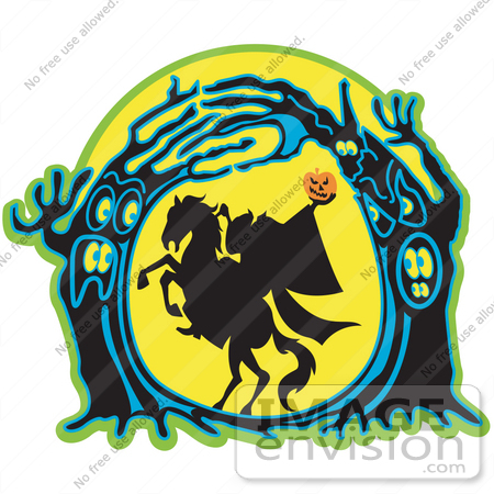 29303 Royalty-free Cartoon Clip Art of the Headless Horseman Holding