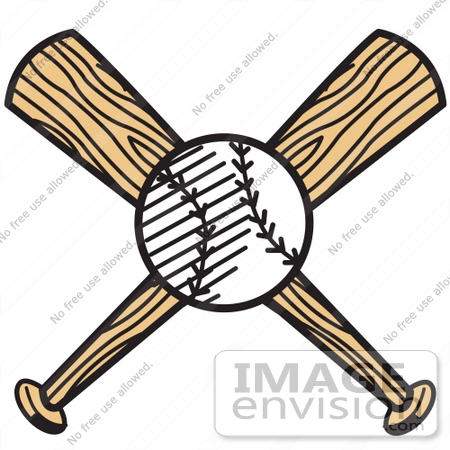 #29305 Royalty-free Cartoon Clip Art of a White Baseball Over Two Wooden