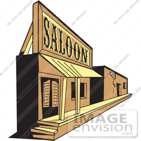 #29316 Royalty-free Cartoon Clip Art of an Old Saloon Facade in a Ghost Town by Andy Nortnik