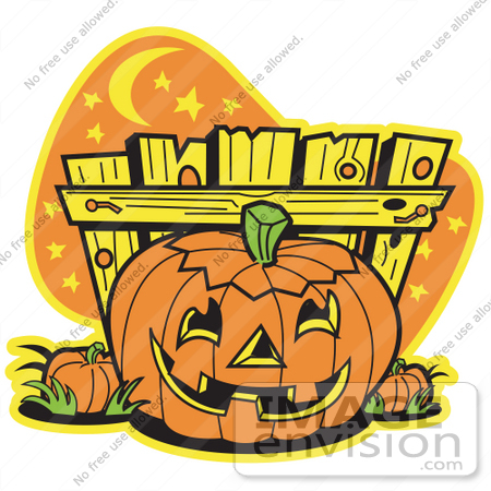 #29335 Royalty-free Cartoon Clip Art of a Halloween Pumpkin With a Carved Face, Resting by a Fence at Night by Andy Nortnik