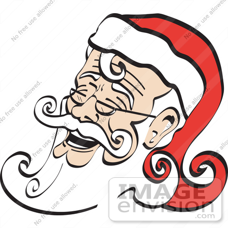 #29336 Royalty-free Cartoon Clip Art of a White Bearded Santa Being Jolly And Laughing by Andy Nortnik