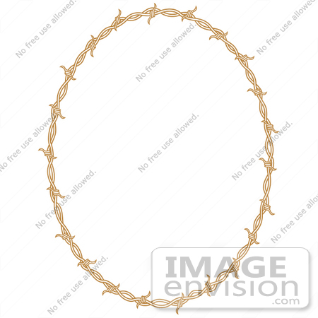 #29346 Royalty-free Cartoon Clip Art of an Oval Border Frame Of Barbed Wire Over A White Background by Andy Nortnik