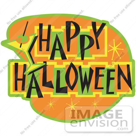#29350 Royalty-free Cartoon Clip Art of a Happy Halloween Bar Sign by Andy Nortnik