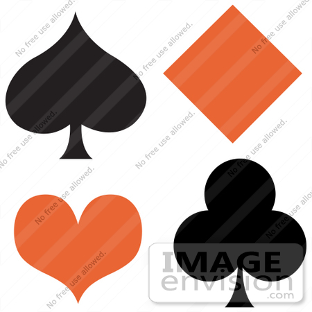 #29358 Royalty-free Cartoon Clip Art of a Black Spade And Club With An Orange Diamond And Heart by Andy Nortnik
