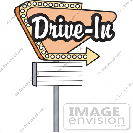 #29365 Royalty-free Cartoon Clip Art of a Vintage Tan Drive In Sign With An Arrow by Andy Nortnik
