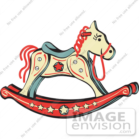 #29379 Royalty-free Cartoon Clip Art of a Child's Rocking Horse With Star Decorations by Andy Nortnik
