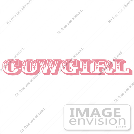 #29381 Royalty-free Cartoon Clip Art of a Pink Western Cowgirl Bathroom Sign by Andy Nortnik