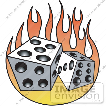 #29392 Royalty-free Cartoon Clip Art of a Pair of White and Black Dice and Flames by Andy Nortnik
