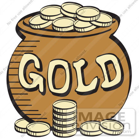 Royalty-free Cartoon Clip Art of a Stack Of Gold Coins Near A Pot ...