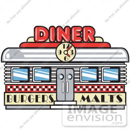 royalty free cartoon clip art of a retro diner building with a clock rh imageenvision com clip art for restaurants and tavern restaurant clipart free