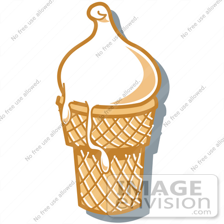 #29407 Royalty-free Cartoon Clip Art of a Vanilla Ice Cream In A Cone, Melting Over The Rim by Andy Nortnik