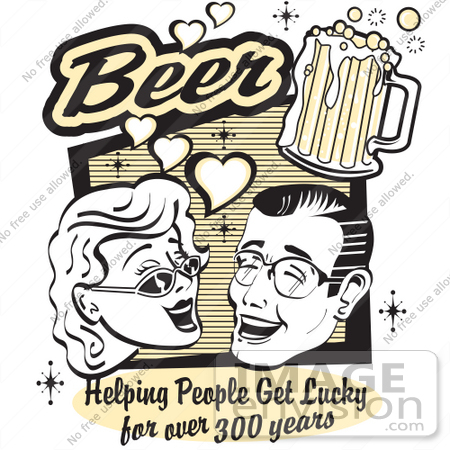 #29408 Royalty-free Cartoon Clip Art of a Woman and Man With Beer, Beer, Helping People Get Lucky For Over 300 Years by Andy Nortnik