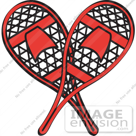 Royalty-free Cartoon Clip Art of a Pair of Red Snowshoes Crossed ...